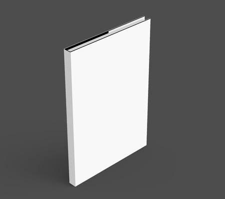 elevated: 3D rendering hardcover book, standing single book mockup isolated on dark background, elevated view