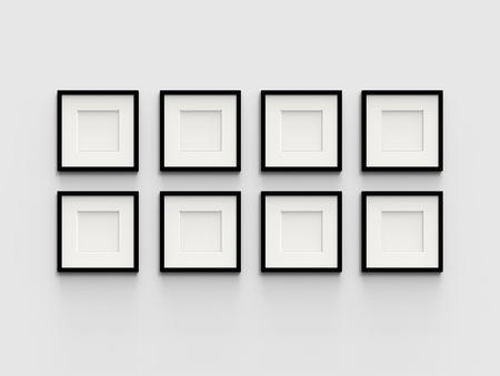Eight Blank Picture Frame Template Set Isolated On Wall, 3d ...