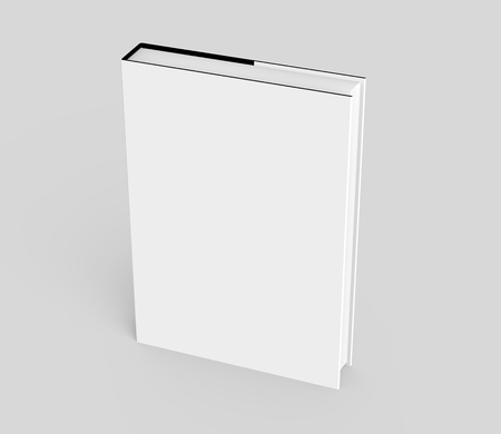 elevated: 3D rendering hardcover book, standing single book mockup isolated on light gray background, elevated view Stock Photo