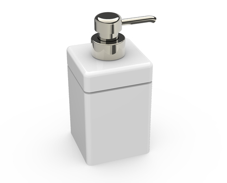 white square cosmetic bottle head to right with a metallic head part, white background, 3d rendering