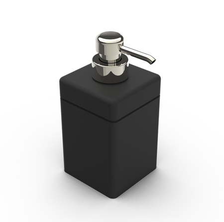 right tilt black square cosmetic bottle with a metallic head part, white background, 3d rendering