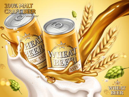 Wheat beer ads, refreshing beer in aluminum cans with wheat and hops elements, pouring liquid and foam in 3d illustration