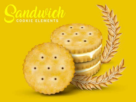 chrome: Lemon sandwich cookies elements, round cookies with lemon cream isolated on chrome yellow background with wheats, 3d illustration Illustration