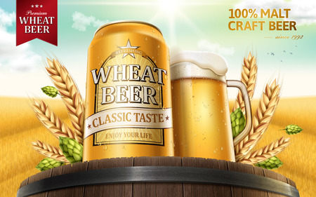 Wheat beer ads, refreshing beer in aluminum can and beer glass on top of oak barrels with wheat and hops elements, 3d illustration with peaceful wheat field background