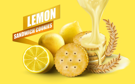 sour cream: Lemon sandwich cookies elements, lemon sauce dripping from top with ingredient wheat isolated on yellow background in 3d illustration Illustration