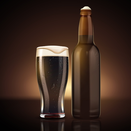 Blank beer bottle with glass cup, blank beverage container mockup with dark beer and foam, 3d illustration