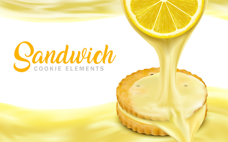 Lemon sandwich cookies elements, sweet and sour sauce dripping from lemon section and flowing everywhere in 3d illustration