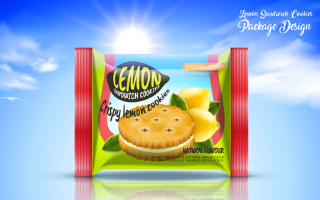 sour cream: Sandwich cookie package design, foil bag food package in lemon flavour isolated on blue sky in 3d illustration