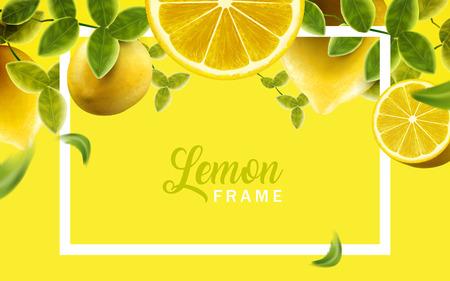 レモン、グリーン フレーム、天然の葉し、黄色の色、3 d イラストの背景は、新鮮なフルーツ