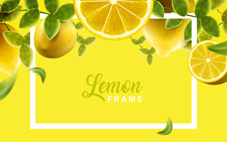레몬과 녹색 나뭇잎 프레임, 노란색과 노란색에서 자연과 신선한 과일 배경, 3d 일러스트