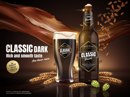 Classic dark beer ads, attractive classic dark beer in glass bottle with malt and beverage floating in the air, 3d illustration Vectores