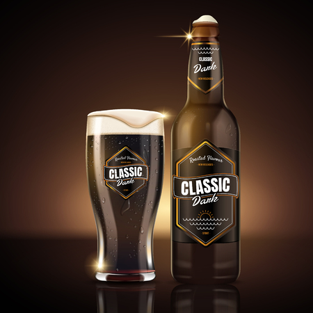 Classic dark beer package design, attractive classic dark beer in glass bottle with label design, 3d illustration