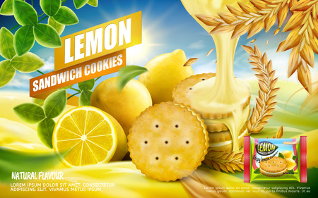 Lemon sandwich cookies ad, crispy refreshing lemon cookies with dripping sauce isolated on orchard background in 3d illustration Çizim