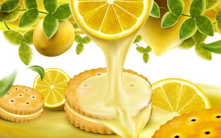 Lemon sandwich cookies elements, sweet and sour sauce dripping from lemon section with green leaves in 3d illustration