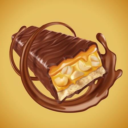 Chocoladereepelement, zoetchocoladereep met noten en karamelvullingen, chocoladesaus wervelen in 3d illustratie