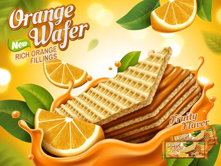 オレンジのウェーハ広告、オレンジ色のしぶきのクランチー ビスケット詰め物や背景のボケ味、3 d イラストレーションに分離された肉