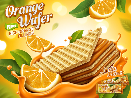 Anuncios de oblea naranja, galletas crujientes con salpicaduras de rellenos de naranja y fleshes aislados en fondo bokeh, ilustración 3d Foto de archivo - 83363889