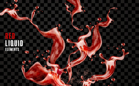 Splashing red liquid element, wine or juice flowing in the air, 3d illustration on transparent background Çizim
