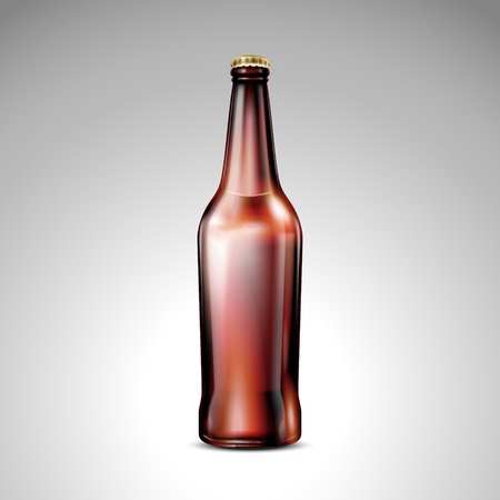 Isolated brown glass bottle, blank glass mockup without label in 3d illustration