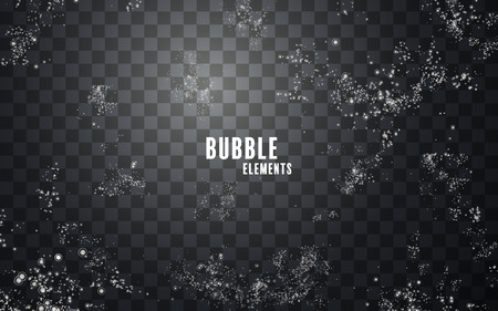 Fizzy bubbles element, small underwater bubbles on transparent background, 3d illustration Ilustração