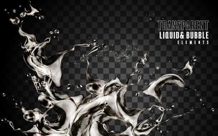 Splashing transparent liquid, exquisite elements for design uses in 3d illustration