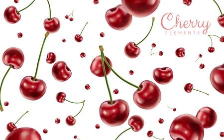 Falling cherries elements, realistic cherry background on white in 3d illustration Ilustração