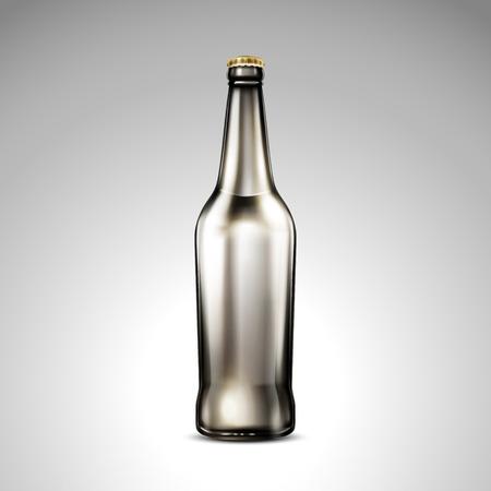 격리 된 어두운 유리 병, 3d 그림에서 레이블없이 빈 유리 mockup