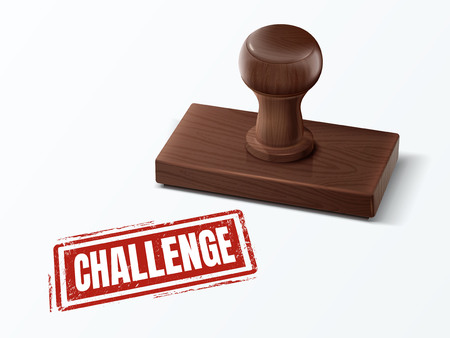 challenge red text with dark brown wooden stamp, 3d illustration