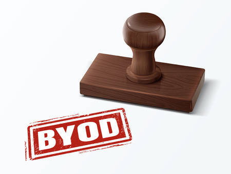 Byod red text with dark brown wooden stamp, 3d illustration