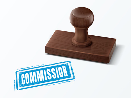 commission blue text with dark brown wooden stamp, 3d illustration