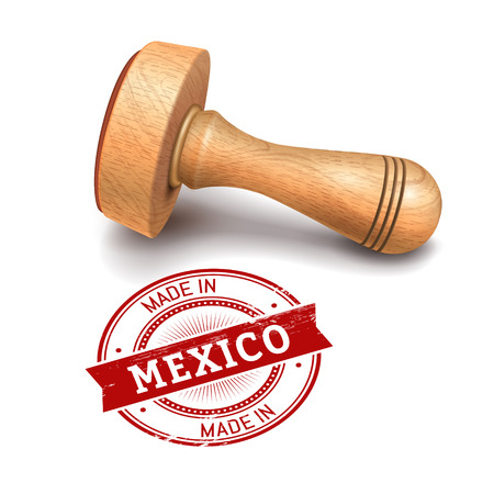 validate: illustration of wooden round stamp with made in Mexico text