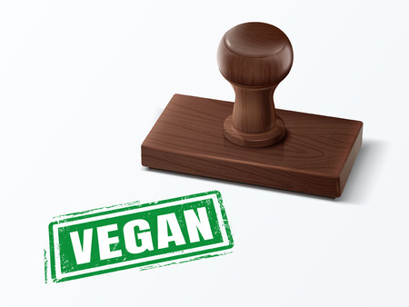 vegan green text with dark brown wooden stamp, 3d illustration