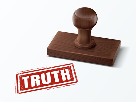 Truth red text with dark brown wooden stamp, 3d illustration