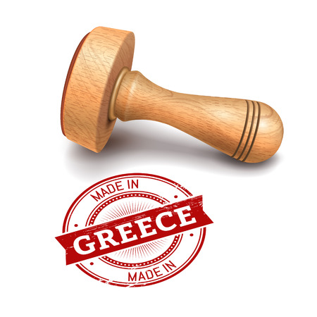 Illustration of wooden round stamp with made in Greece text Illustration