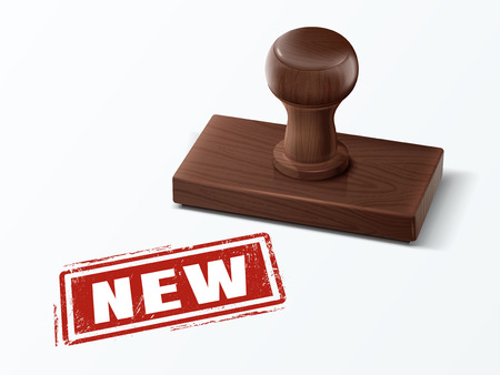 New red text with dark brown wooden stamp, 3d illustration