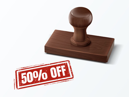 50 percent off red text with dark brown wooden stamp, 3d illustration