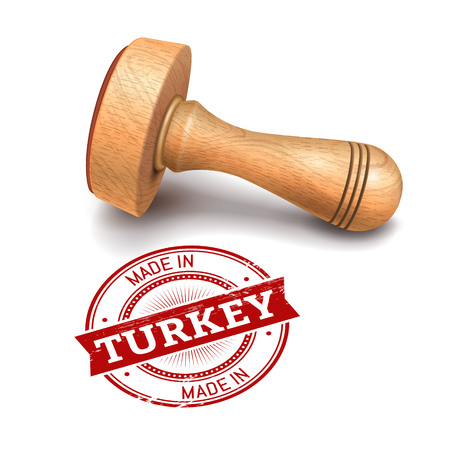 Illustration of wooden round stamp with made in Turkey text