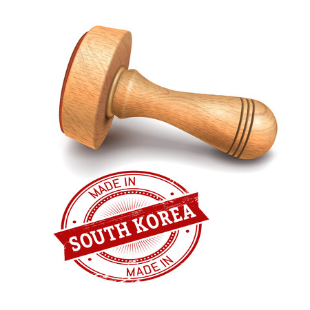 validate: Illustration of wooden round stamp with made in South Korea text Illustration