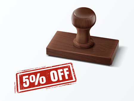 5 percent off red text with dark brown wooden stamp, 3d illustration