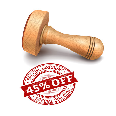validation: Illustration of wooden round stamp with 45 percent off text Illustration