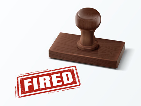 A fired red text with dark brown wooden stamp, 3d illustration