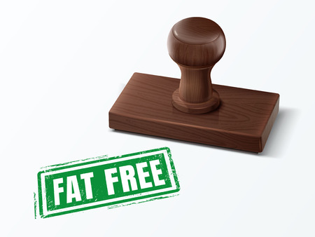 fat free green text with dark brown wooden stamp, 3d illustration