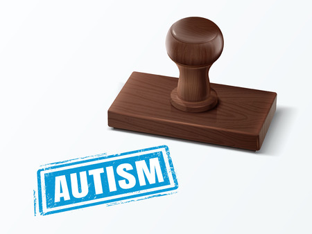 retail therapy: Autism blue text with dark brown wooden stamp, 3d illustration