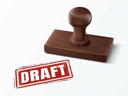 Draft red text with dark brown wooden stamp, 3d illustration