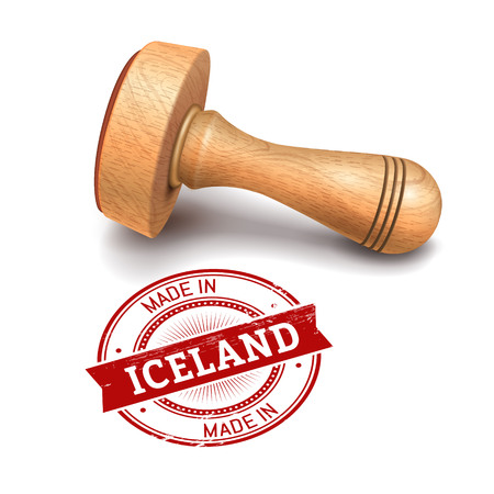 validate: Illustration of wooden round stamp with made in Iceland text