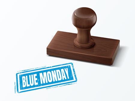 morose: Blue monday blue text with dark brown wooden stamp, 3d illustration Illustration