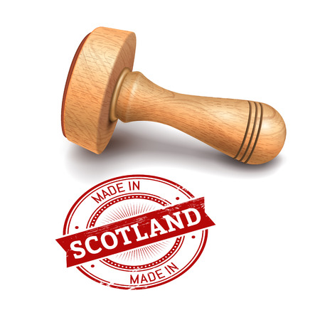 validation: Illustration of wooden round stamp with made in Scotland text Illustration