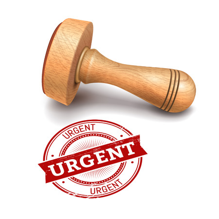 Illustration of wooden round stamp with urgent text