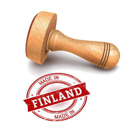 validation: Illustration of wooden round stamp with made in Finland text Illustration
