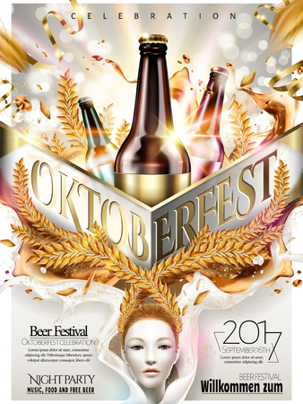 Oktoberfest celebration poster, beer party design with flying ribbons and wheat on glittering silver background, 3d illustration.